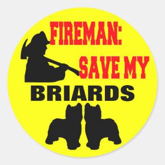 Fireman Save My Briards Round Sticker