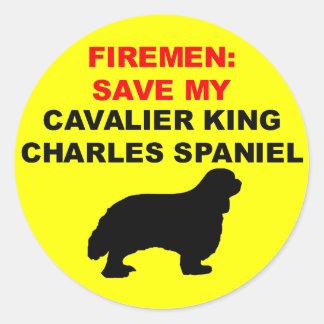 Fireman Save My Cavalier King Charles Spaniel Classic Round Sticker