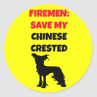 Fireman Save My Chinese Crested Classic Round Sticker