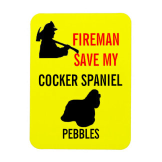Fireman Save My Cocker Spaniel Safety Rectangle Magnet