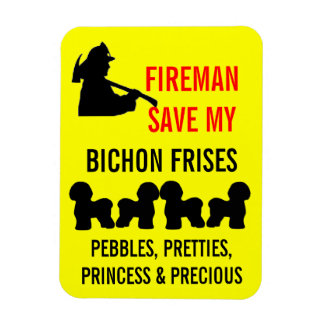 Fireman Save My Four Bichon Frises Safety Rectangular Photo Magnet