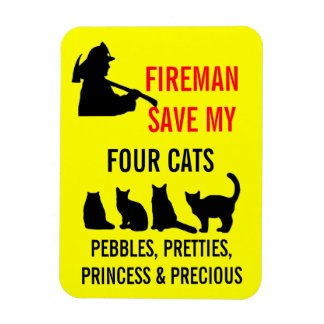 Fireman Save My Four Cats Safety Vinyl Magnets