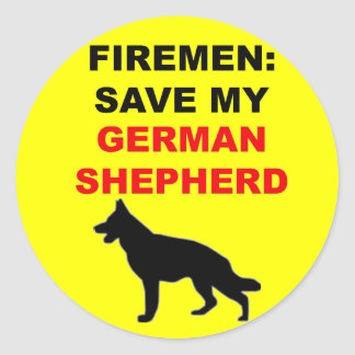 Fireman Save My German Shepherd Classic Round Sticker