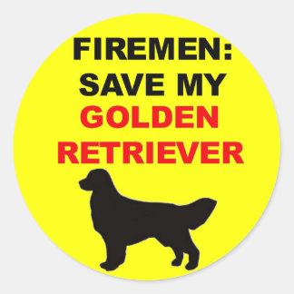 Fireman Save My Golden Retriever Classic Round Sticker