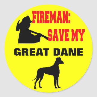 Fireman Save My Great Dane Classic Round Sticker