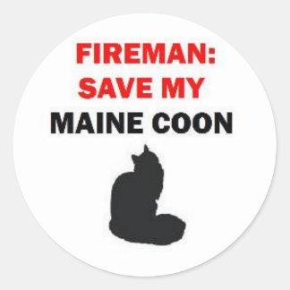 Fireman Save My Maine Coon Cat Classic Round Sticker
