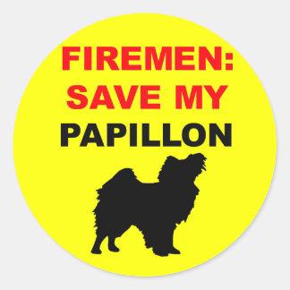 Fireman Save My Papillon Classic Round Sticker
