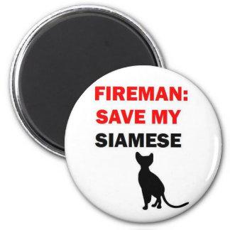 Fireman Save My Siamese Cat 6 Cm Round Magnet