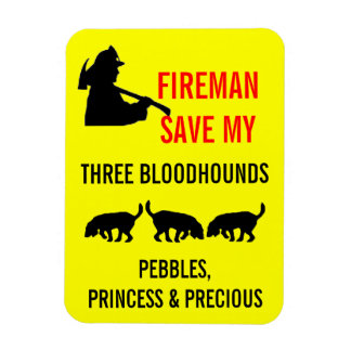 Fireman Save My Three Bloodhounds Fire Safety Rectangular Photo Magnet