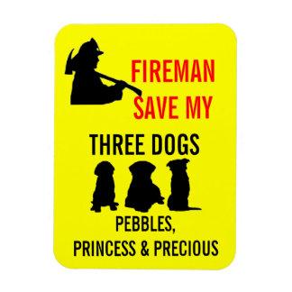 Fireman Save My Three Dogs Rectangular Photo Magnet