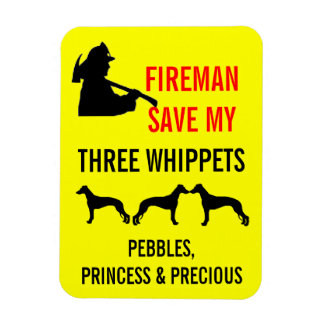 Fireman Save My Three Whippets Fire Safety Rectangular Photo Magnet