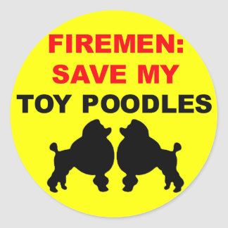 Fireman Save My Toy Poodles Classic Round Sticker