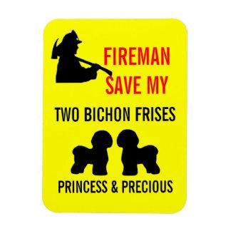 Fireman Save My Two Bichon Frises Safety Rectangular Magnets