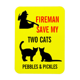 Fireman Save My Two Cats Safety Magnet