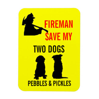 Fireman Save My Two Dogs Safety Vinyl Magnet