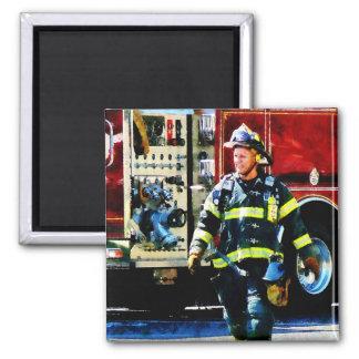 Fireman Square Magnet