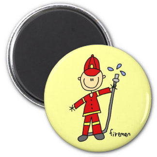 Fireman Stick Figure 6 Cm Round Magnet