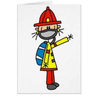 Fireman Stick Figure Card