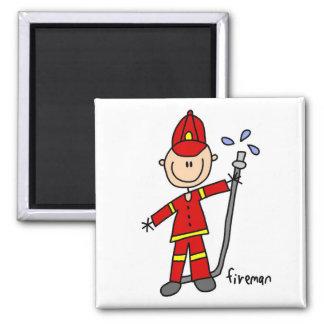 Fireman Stick Figure Square Magnet