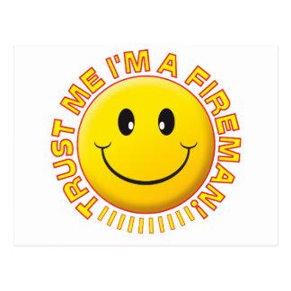 Fireman Trust Me Smiley Post Card