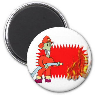 Fireman with flames magnets