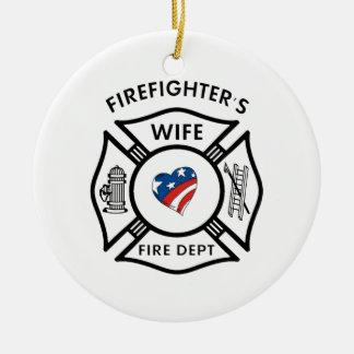 Fireman Wives USA Ceramic Ornament