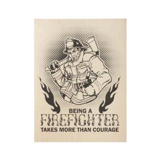 Fireman Wood Poster