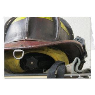 Fireman's helmet greeting card