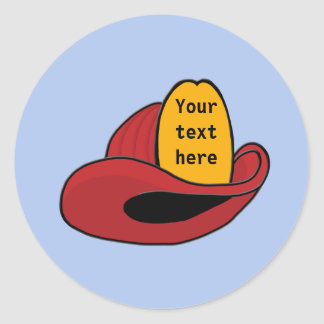 Fireman's Helmet Whimsical Cartoon Art Classic Round Sticker