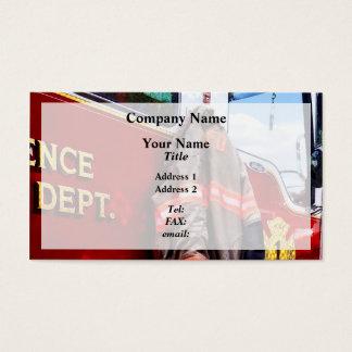 Fireman's Jacket On Fire Truck Business Card