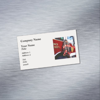 Fireman's Jacket On Fire Truck Magnetic Business Card