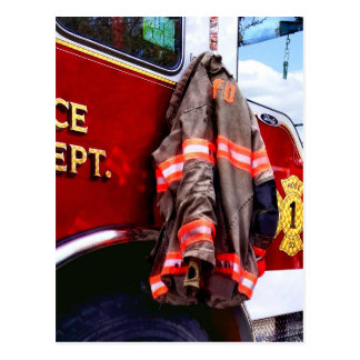 Fireman's Jacket On Fire Truck Postcard