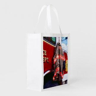 Fireman's Jacket On Fire Truck Reusable Grocery Bag