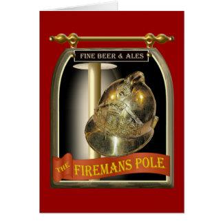 Firemans Pole Pub Sign Greeting Card