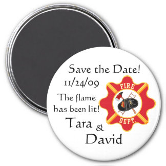 Fireman's Save the Date! 7.5 Cm Round Magnet