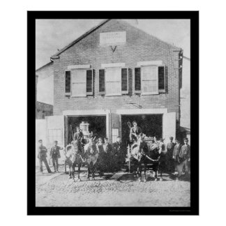 Firemen and Equipment in Front of Firehouse 1912 Poster