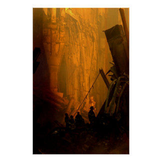 Firemen in the Rubble of the Twin Towers on 9/11 Poster