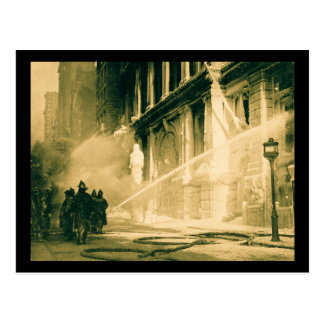 Firemen Spraying Building Pine Street New York Postcard