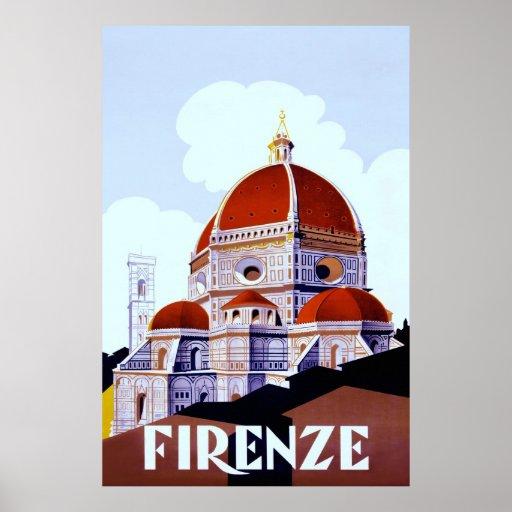 Firenze ~Vintage Italian Travel Canvas. Print