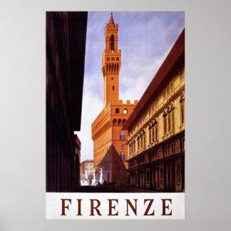 Firenze ~ Vintage Italian Travel Poster.