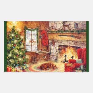 Fireplace 1 rectangular sticker
