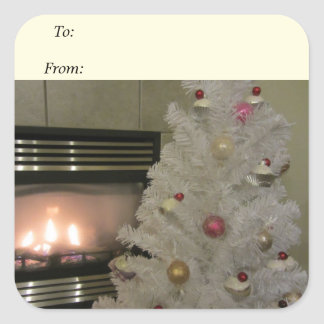 Fireplace and Christmas Tree Square Sticker