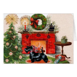 Fireplace and Scottish Terrier Christmas Card