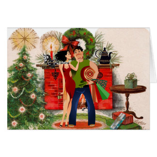Fireplace and Sexy Woman Christmas Card