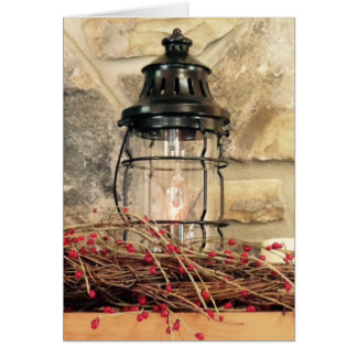Fireplace Mantal Christmas Scene Card
