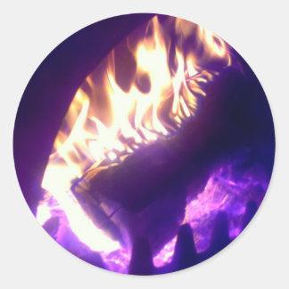 fireplace round sticker