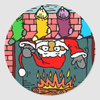 Fireplace Santa Classic Round Sticker