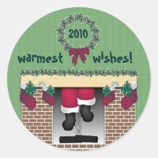 Fireplace Santa Sticker