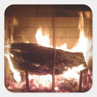 Fireplace Square Sticker