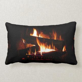 Fireplace Warm Winter Scene Photography Lumbar Cushion